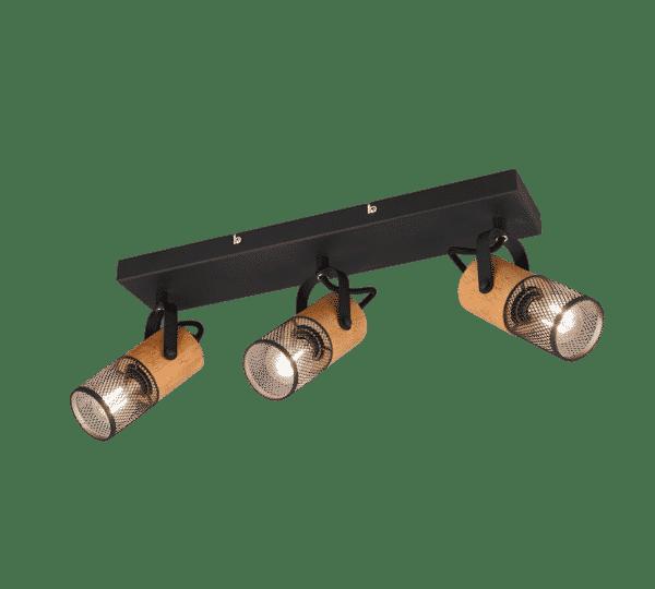 Plafonnier 3 spots bois et métal vintage TOSH
