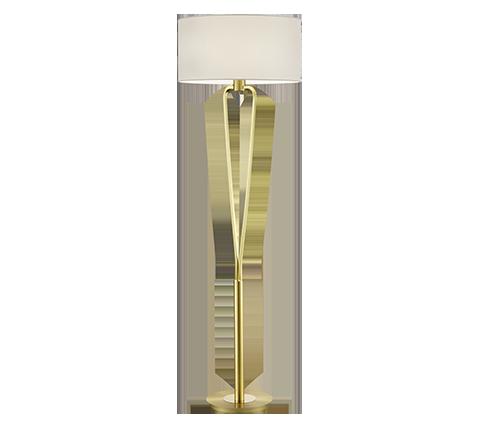 Lampadaire Moderne Design, Laiton Mat & Nickel Mat, sans ampoule(s)