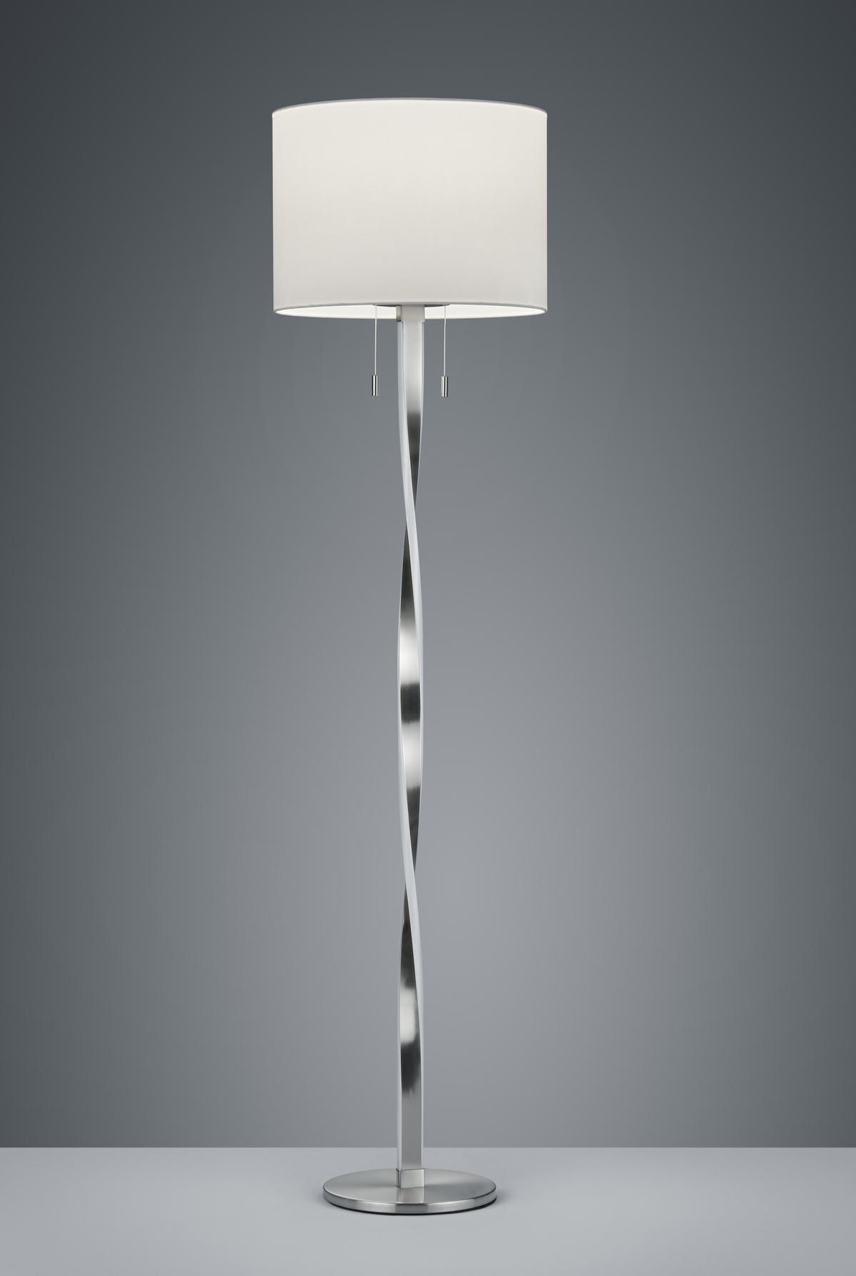 Lampadaire Design metale & tissu, Nickel Mat, SMD LED, 7W · 2x 600lm, 3000K, sans ampoule