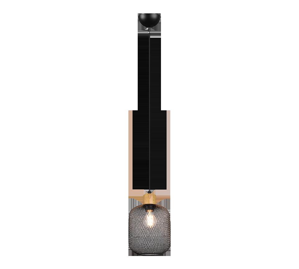 Petite Suspension bois & metale Noir Mat, Vintage, sans ampoule(s), Ø18