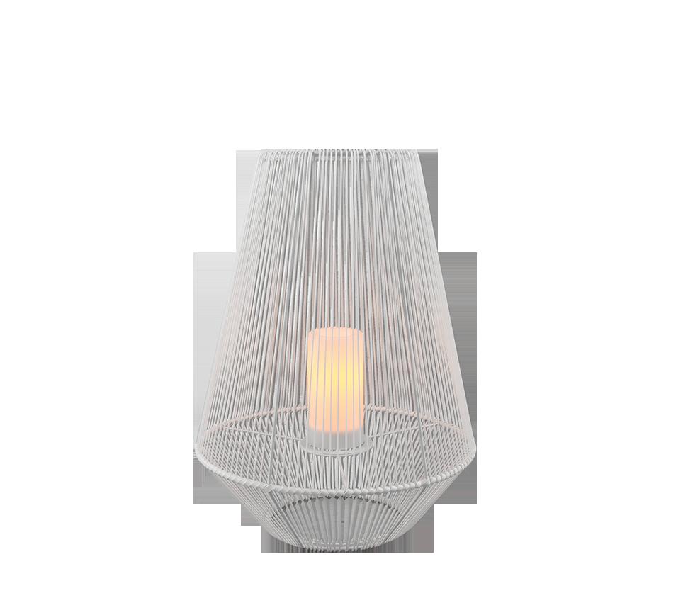 Lampe de table extérieur blanche, Solaire, effet flamme, version grande