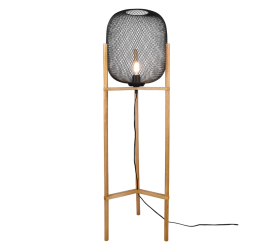 Lampadaire bois & metale Noir Mat, Vintage, sans ampoule(s)